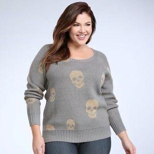 TORRID | Grey Sweater w/ Gold Skulls